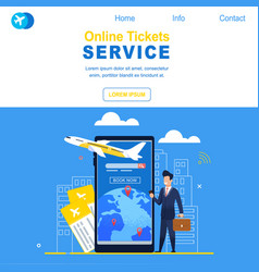 Online tickets service airline registration flight vector