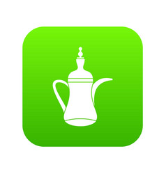 oriental teapot icon digital green vector image