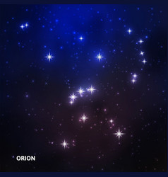 Orion constellation in night sky vector