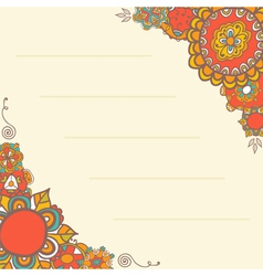 Ornamental greeting card with floral background vector