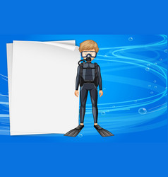paper template with diver in the sea vector image