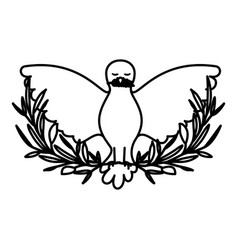 pigeon peace symbol front view with olive branch vector image