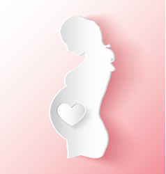Pregnant Woman With Heart Peeling Like Sticker vector