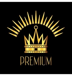 Premiun glowing crown logo in gold black vector image