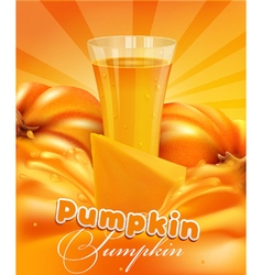 Pumpkin and a glass of juice vector
