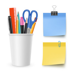 Realistic stationery collection pencil vector