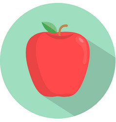 red apple on a white space with shadows vector image