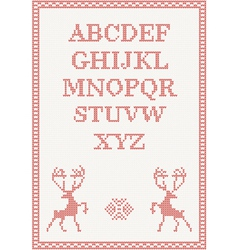 Red knitted alphabet vector image