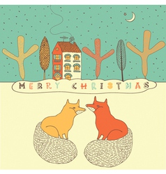 Retro Fox Christmas Card vector image