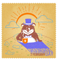 retro happy groundhog day vector image