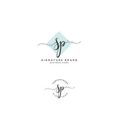 S p sp initial letter handwriting and signature vector