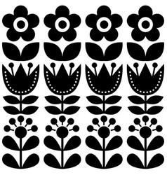Scandinavian seamless pattern swedish folk art vector