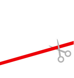 scissors cut straight red ribbon on the right vector image