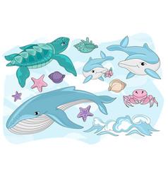Sea creatures travel clipart color vector