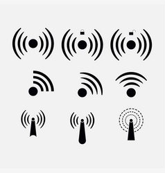 Set icons wi-fi wireless network coverage vector