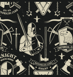 set knight historical club seamless pattern vector image