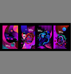 Set liquid color abstract geometric fluid vector