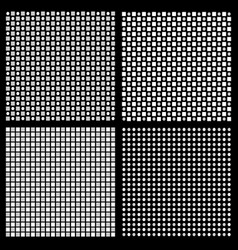 Set of 4 grayscale regular pattern with squares vector