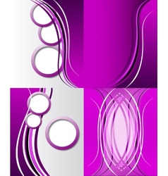 Set of Abstract purple wavy background design vector image