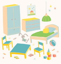 Set of furniture for children room kids small vector