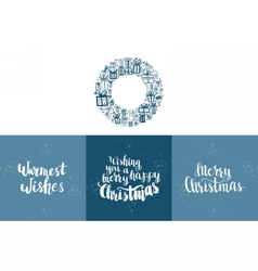 Set of winter hand drawn phrases vector