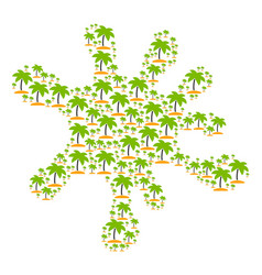 splash collage of island tropic palm icons vector image