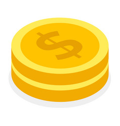 stack iron or gold coins money symbol dollars vector image