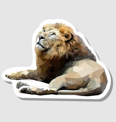 sticker lion lying down facing up vector image