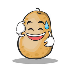 Sweat smile potato character cartoon style vector