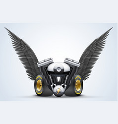 Symbol of motorcycle engine with Black open wings vector