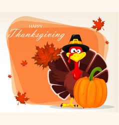 thanksgiving greeting card with a turkey bird vector image