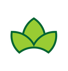 three leaves green logo icon vector image
