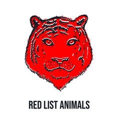 tiger face or head red list animals hand drawn vector image