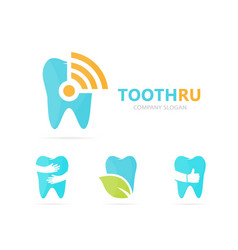 Tooth and wifi logo combination dental vector