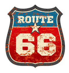 Vintage route 66 road sign with grunge distressed vector
