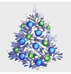 White Christmas tree with toys and garland vector image