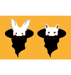 White Rabbit Cat in Witch Hat vector