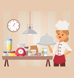 woman chef teaches cooking class vector image