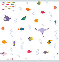 cartoon sea fishes vector image