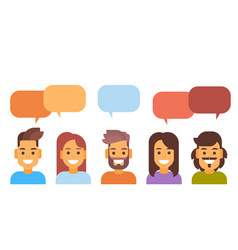 Casual people group chat bubble media vector
