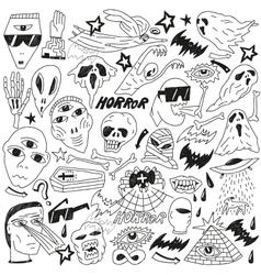 Halloween evil monsters - doodles vector