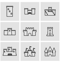 line castle icon set vector image