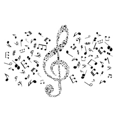 Musical notes and symbols in shape of treble clef vector image vector image