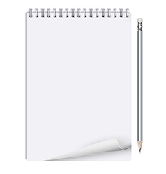 Notebook with pencil on white background vector image