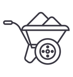 wheelbarrow line icon sign vector image