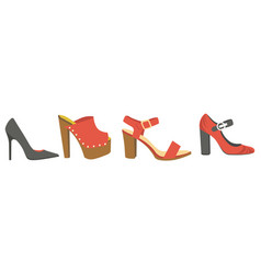 women shoes or female footwear boots types vector image