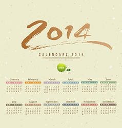 Calendar 2014 text paint brush vector image