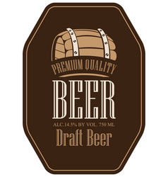 label for beer in retro style with wooden barrel vector image vector image