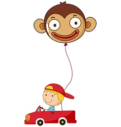 A red car with a boy and a monkey balloon vector image vector image