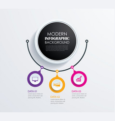 abstract 3 circle infographics number options vector image